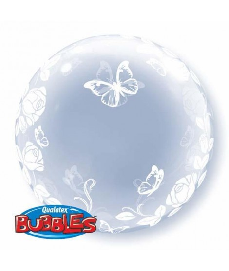 Globo Decobubble Rosas Y Mariposas 24""