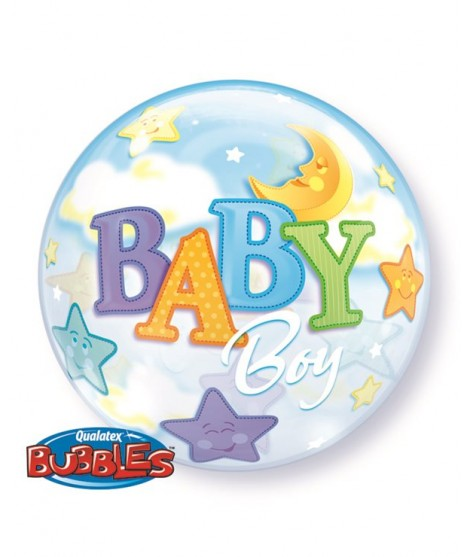 Globo Bubble Baby Boy Moon & Stars 22""