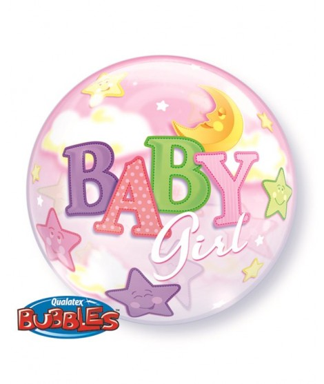 Globo Bubble Baby Girl Moon & Stars 22""